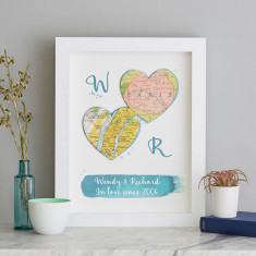 Two Personalised Map Hearts Wedding Watercolour Print