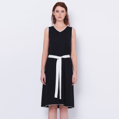 Cotton cashmere v neck summer dress