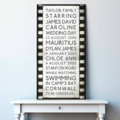 Personalised Film Strip Typography Canvas