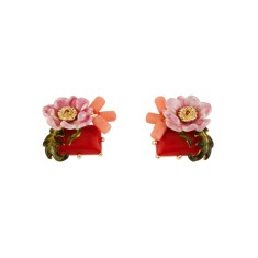 Pink Flower and Red Stone Earrings