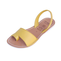 Costa velvet leather sandals in sun yellow