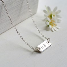 Personalised Sterling Silver Mini Initials Bar Necklace