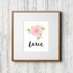 Tropical series art prints (flowers with love text)