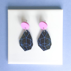 Girlfriend drop earrings - charcoal glitter, baby blue and lilac