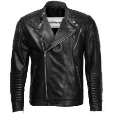 Black MB4 quilted leather jacket
