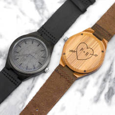 Personalised wooden heart and initial men's watch