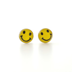 Smiley face stud earrings