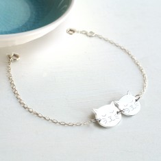 Personalised Sterling Silver Little Twin Cat Face Bracelet