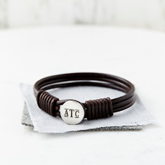 Personalised Monogram Silver And Leather Bracelet