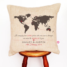 The World personalised linen cushion cover