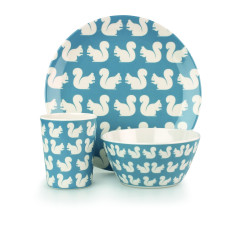 Kissing Squirrel Melamine Bowl, Cup and Plate Set