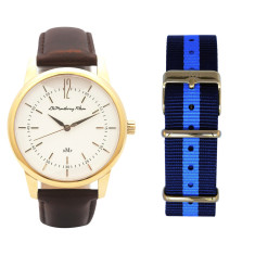 Classic Gold Watch with Brown Leather Strap & Travel Case