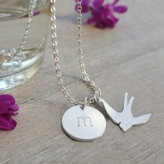 Personalised Sterling Silver Initial Disc and Swallow Necklace