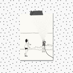 All Occasion Black and White Illustrated Hose Greeting Cards (Pack of 4)
