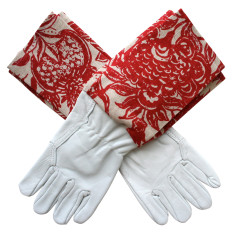 Washable leather gardening gloves in Red Clay