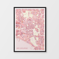 Melbourne variegated map print