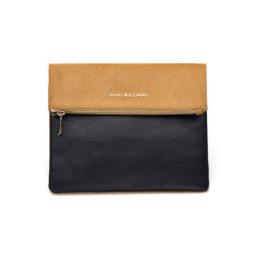 Caviette Italian Leather & Calfskin Fold Over Clutch
