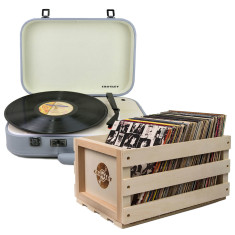 Crosley Coupe Turntable Grey + Storage Crate Bundle