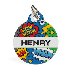 Personalised standard pet ID tag (Superhero Comic)