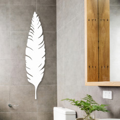 Matte white steel feather wall art