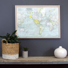 Around the World vintage style map pin board