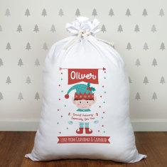 Personalised Little Elf Jumbo Santa Sack