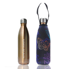 stainless steel future bottle with carry cover in butterfly print (500ml)