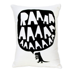 RAAAAA dinosaur cushion in black