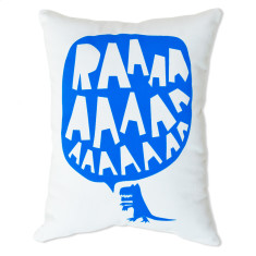 RAAAAA dinosaur cushion in blue