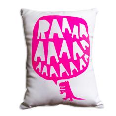 RAAAA dinosaur cushion - fluorescent pink