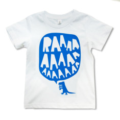 RAAAA dinosaur T-shirt in blue on white