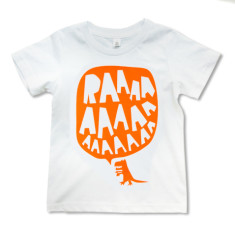 RAAAA dinosaur t-shirt in fluorescent orange on white