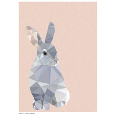 Geometric rabbit art print