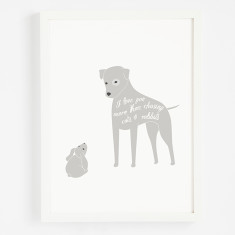 Cats and rabbits typographic art print
