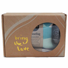 Teal wheat bag, violet eye pillow & body oil gift pack