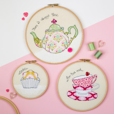 Set of three tea time embroidery hoops