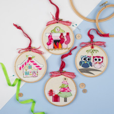 Embroidery hoop hanging tree decorations (set of 4)