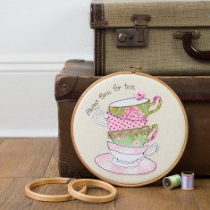 Always time for tea teacups embroidery hoop artwork