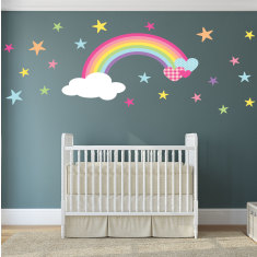 Rainbow and hearts fabric wall stickers
