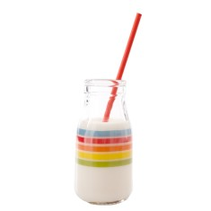 Printed mini milk bottles in rainbow design (6 bottles)