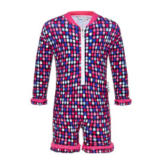 Pink raindrops all-in-one UV suit