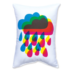 Rainy day rainbow cushion