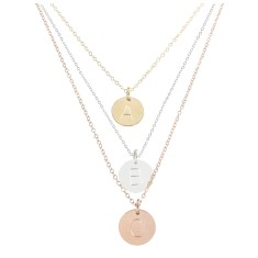 Alphabet disc charm necklace in sterling silver, rose gold and yellow gold.