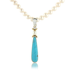 Turquoise Drop Pendant with Pearl on Sterling SIlver