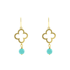 Golden green clover earrings