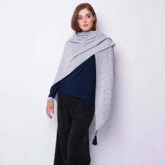 Oversized triangle shawl with tassel in light grey