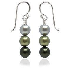 Neapolitan swarovski pearl earrings in green
