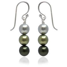 Neapolitan swarovski pearl earrings in green