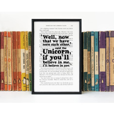 Alice in Wonderland I'll Believe In You Unicorn Quote - Book Page Print