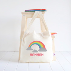 Rainbow personalised library bag